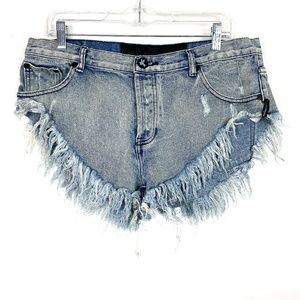 One Teaspoon Button Fly High Rise Cut Off Shorts